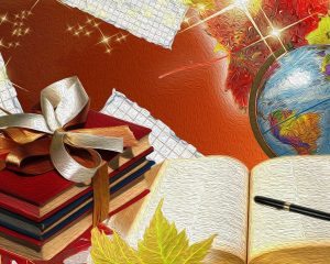 Globe And Books School Background