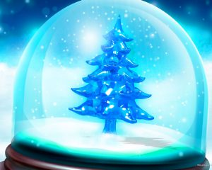 Blue Christmas Tree PowerPoint Background