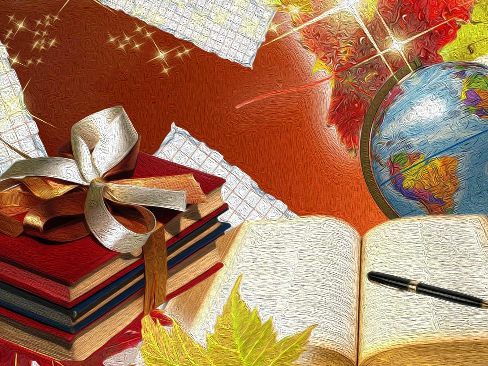 Globe And Books School Background